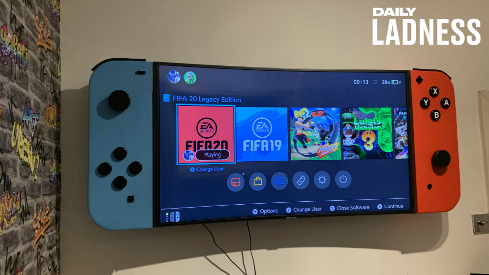 Dad Builds A Gigantic Nintendo Switch For His Son's Bedroom Television - LADbible