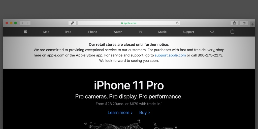 Apple website banner now says retail stores are closed 'until further notice' - 9to5Mac