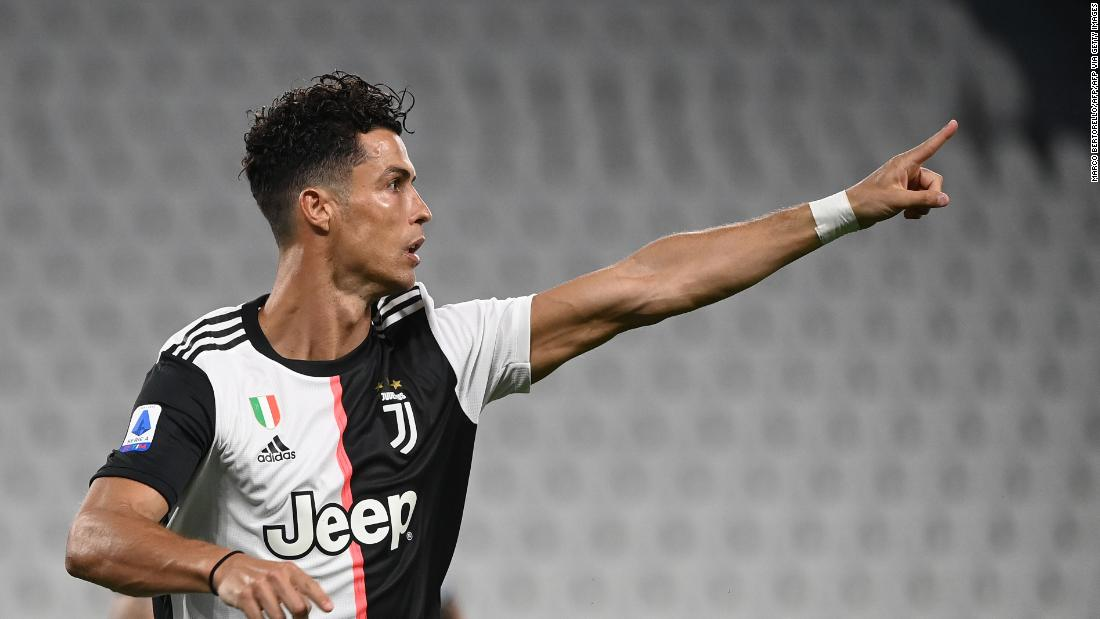 Cristiano Ronaldo scores twice to set another scoring record as Juventus moves closer to Serie A title - CNN International