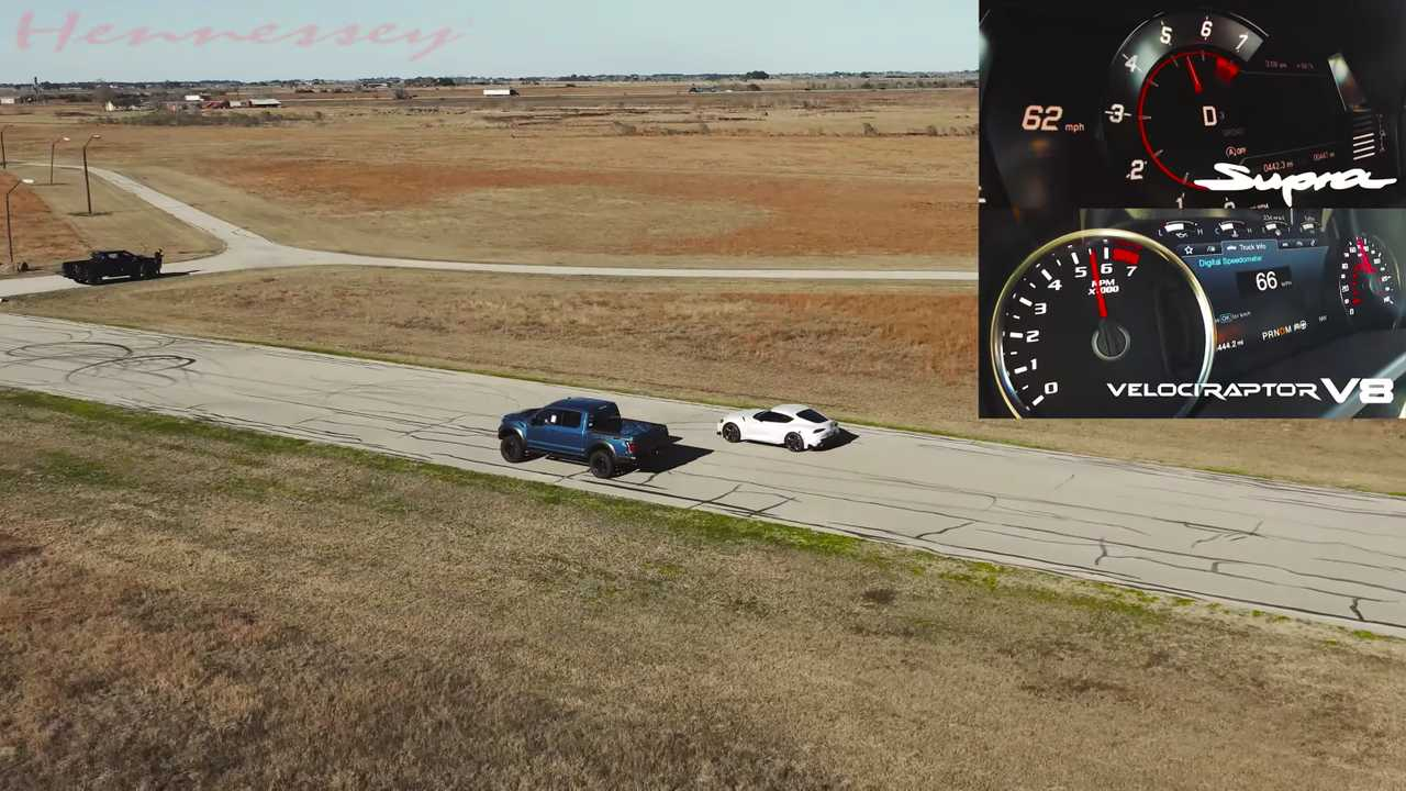 Toyota Supra And Hennessey Velocirpator V8 Race In Battle Of Unequals - Motor1