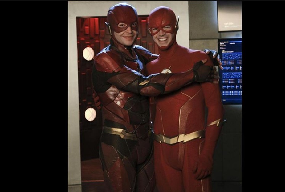 Grant Gustin Shares BTS Look At Ezra Miller The Flash On Crisis - Cosmic Book News