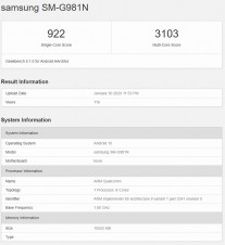 All three Samsung Galaxy S20 phones pass through Geekbench with S865 chips, 12GB of RAM - GSMArena.com news - GSMArena.com
