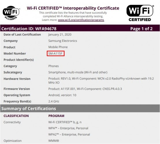 Samsung Galaxy M11, M31 and A11 get certified by Wi-Fi Alliance - GSMArena.com news - GSMArena.com