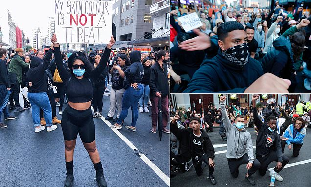Thousands of New Zealanders flood streets for Black Lives Matter rally in support of George Floyd - Daily Mail