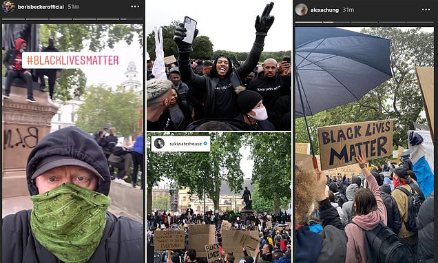 Anthony Joshua and Boris Becker among the stars spotted at Black Lives Matter protests in the UK - Daily Mail