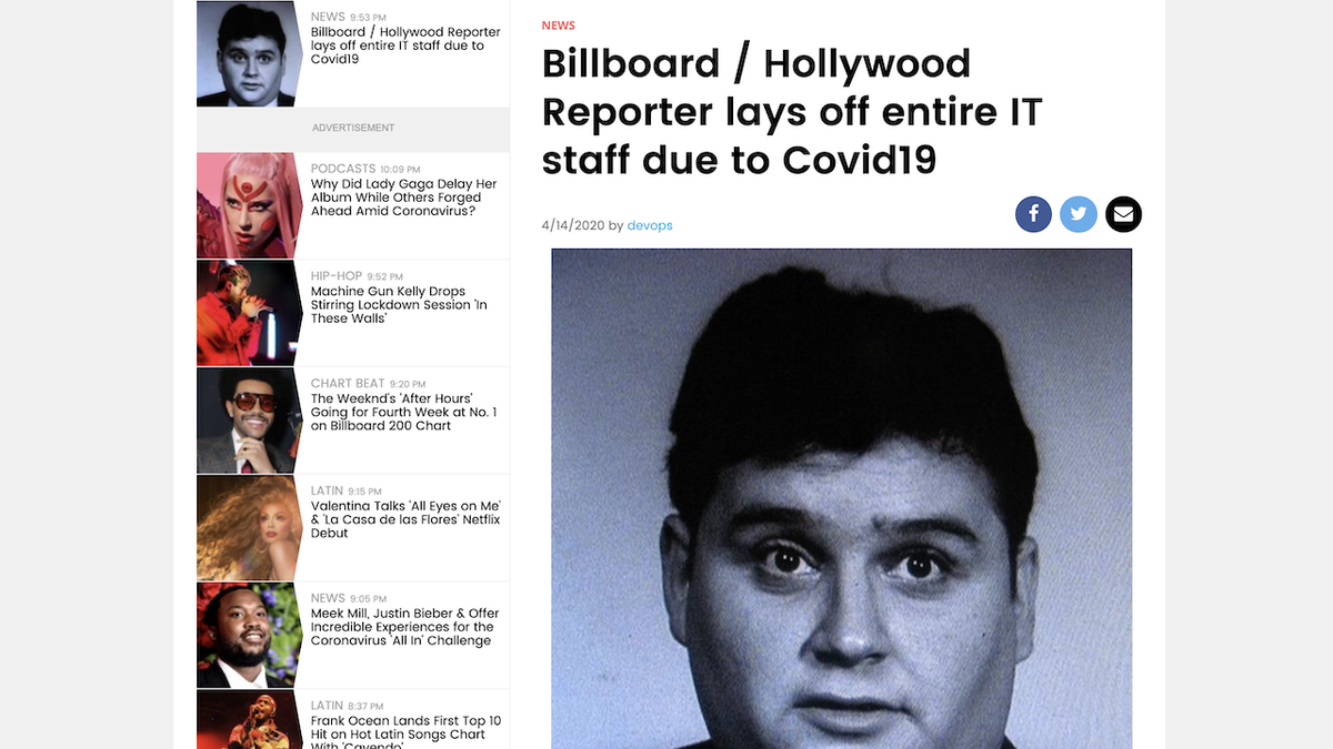 Workers at Hollywood Reporter and Billboard Vandalize Website After Getting Laid Off - Gizmodo