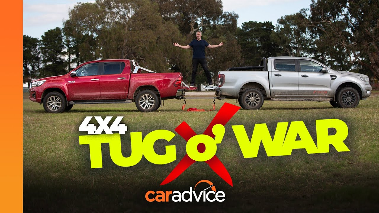 2020 Ford Ranger v Toyota Hilux: Tug of War | Australia's favourite utes battle it out! | CarAdvice - CarAdvice.com
