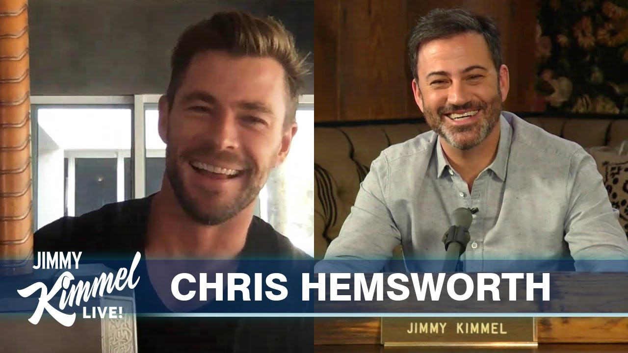 Chris Hemsworth on Quarantine in Australia, Homeschooling Kids & Thor Props - Jimmy Kimmel Live
