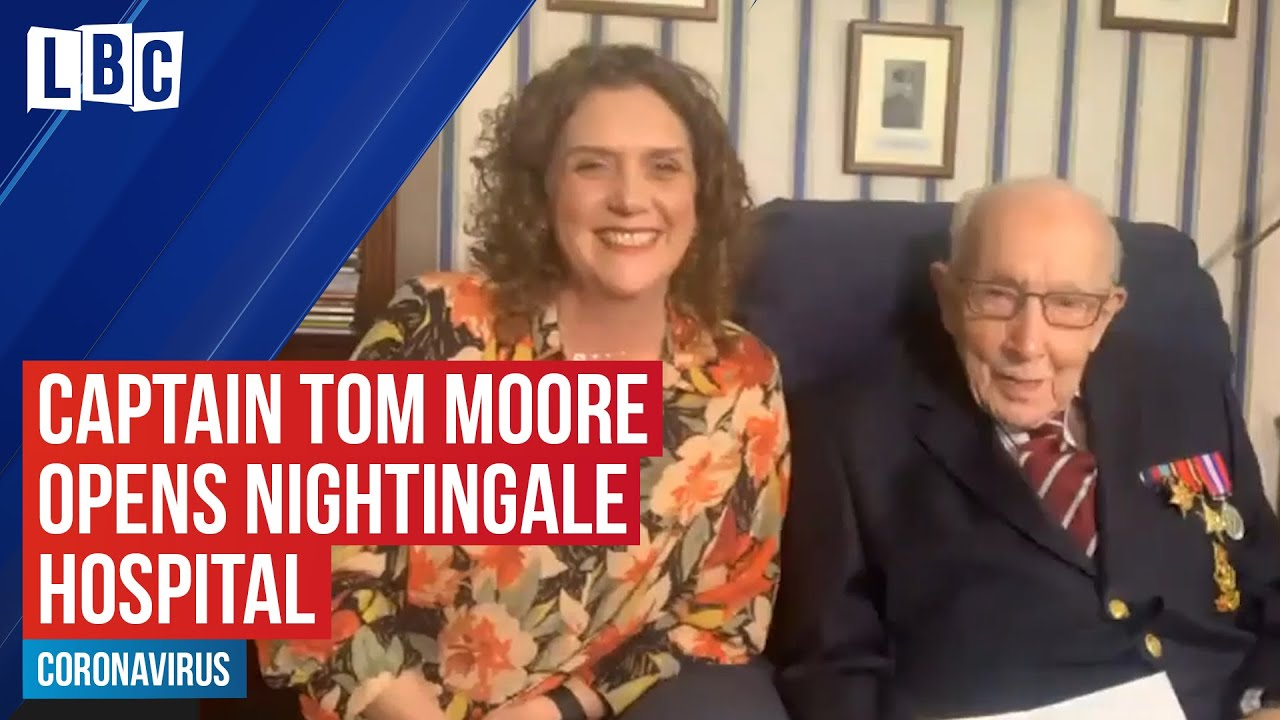 War hero Captain Tom Moore opens the NHS Nightingale Yorkshire and Humber | LBC - LBC