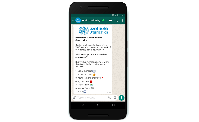 WhatsApp, WHO send virus alerts via chatbot - Mobile World Live