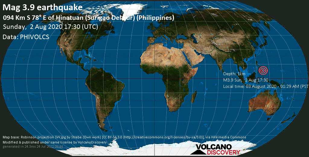 Earthquake info : M3.9 earthquake on Sunday, 2 August 2020 17:29 UTC / 125 km S 80° E of Hinatuan (Surigao Del Sur) (Philippines) - - VolcanoDiscovery