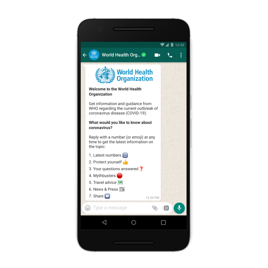 WhatsApp and WHO launch a chatbot to answer questions surrounding coronavirus - MSPoweruser - MSPoweruser