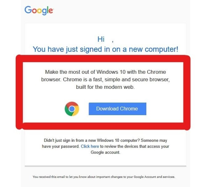 Google uses majority of security alert email to tell Edge users to install Chrome - MSPoweruser - MSPoweruser