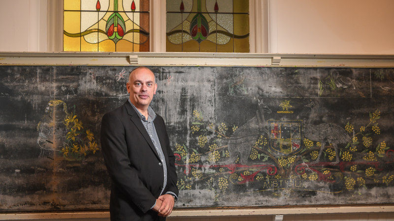 'Gift from the past': Century-old chalkboard mural unearthed at school - Sydney Morning Herald