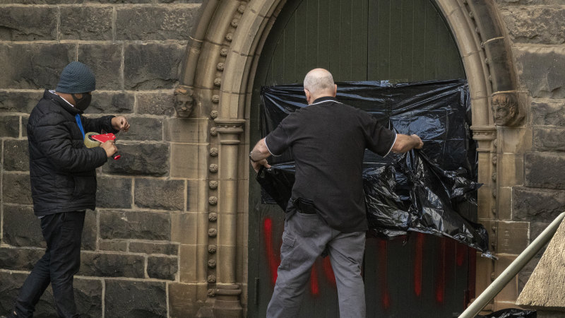St Patrick's Cathedral vandalised after George Pell's release - Sydney Morning Herald