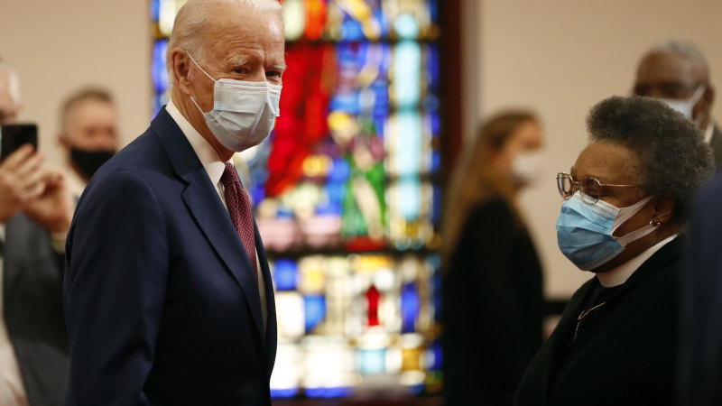 In battle for soul of America, Biden meets with black leaders at church - Sydney Morning Herald