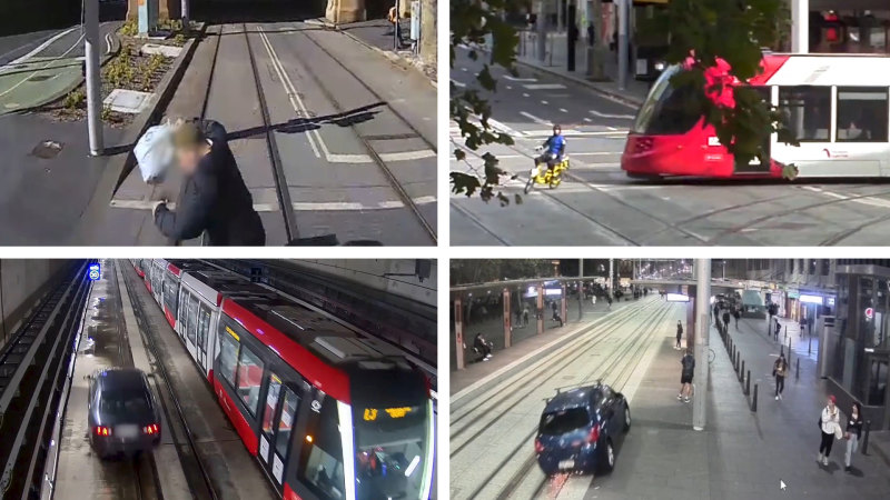 'Tram tracks are for trams': Caution urged around CBD light rail after near-misses - Sydney Morning Herald