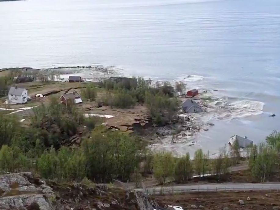 'I ran for my life': Houses swept into sea in huge landslide in Norway - The Independent