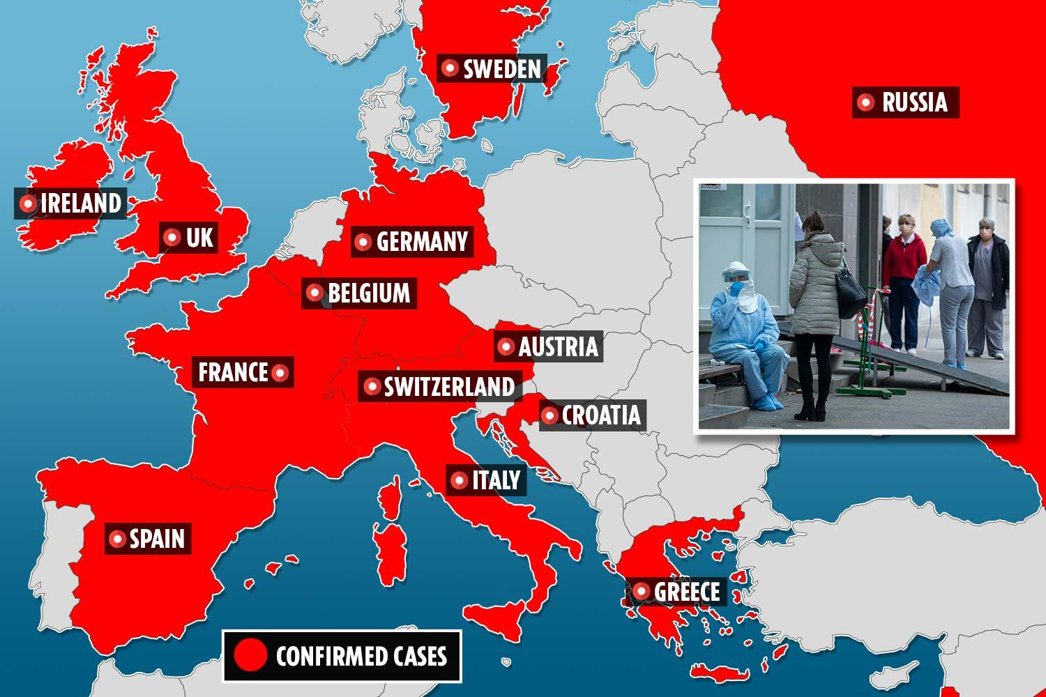 Coronavirus spreads to MORE European countries as Greece, Switzerland, Austria, Croatia and Spain ALL have - The Sun
